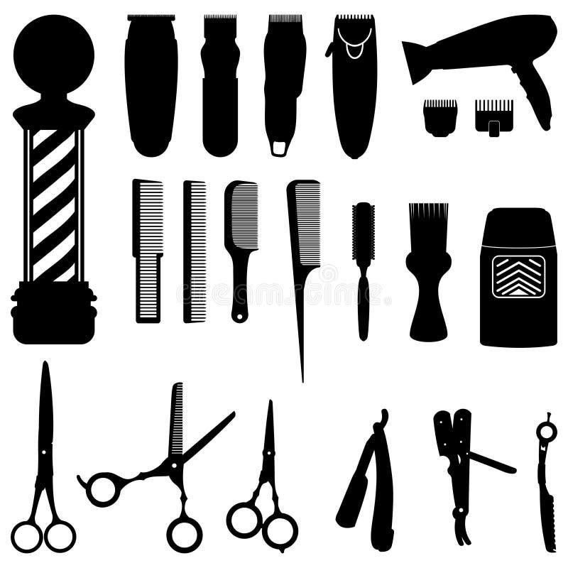 Frisering och Barber Shop Tools Silhouette Collection stock illustrationer