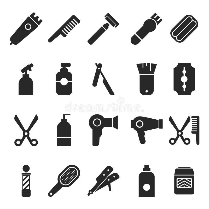 Frisering och Barber Shop Tools Silhouette Collection vektor illustrationer
