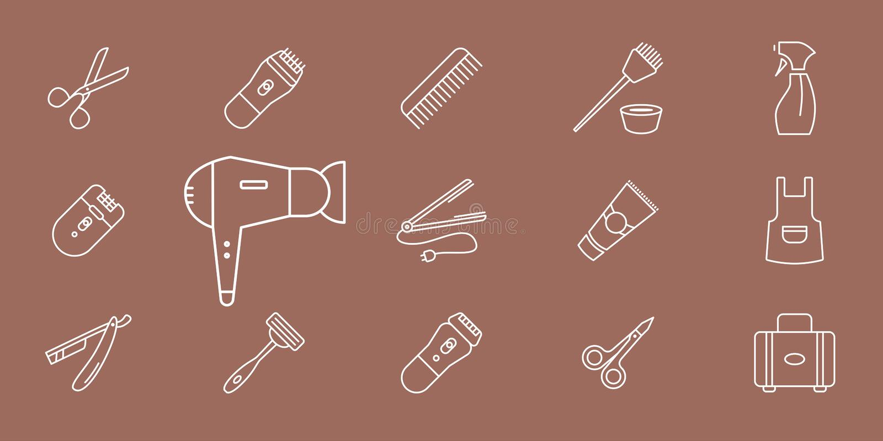 Friseringsalongsymboler - ställ in vektoröversikten för rengöringsduk eller mobil 01 arkivfoton