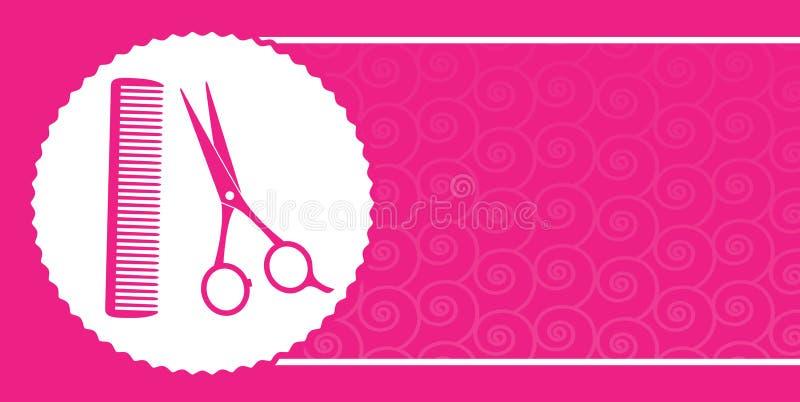 Frisersalongaffärskort med sax och hårkammen stock illustrationer