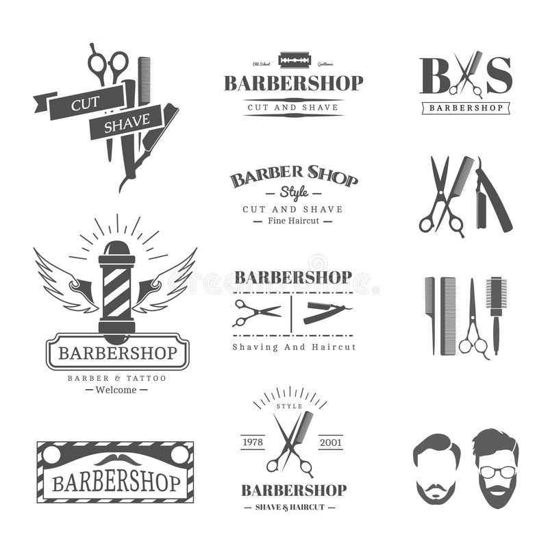 Frisersalongdesignbeståndsdelar royaltyfri illustrationer