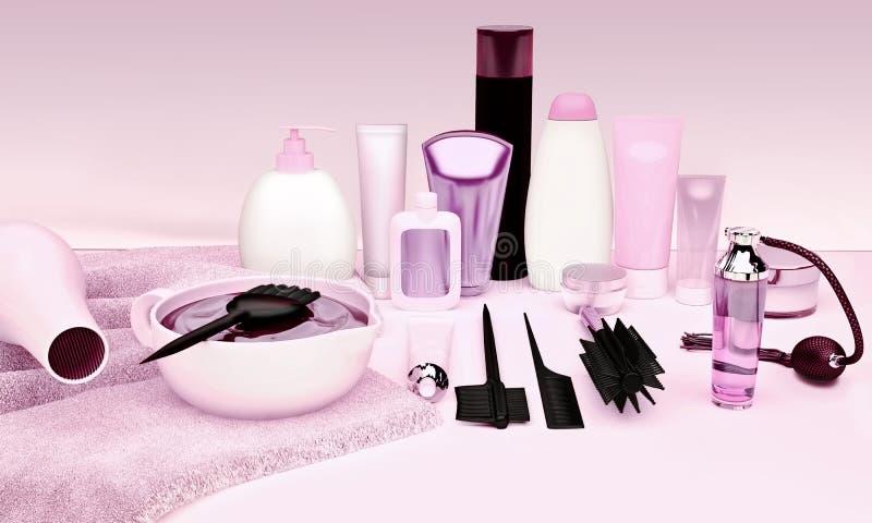 Friseur Accessories für Färbungshaar auf einer Tabelle lizenzfreie stockfotografie