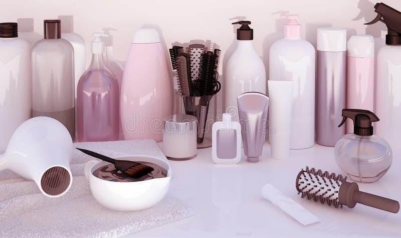 Friseur Accessories für Färbungshaar auf einer Tabelle lizenzfreies stockfoto