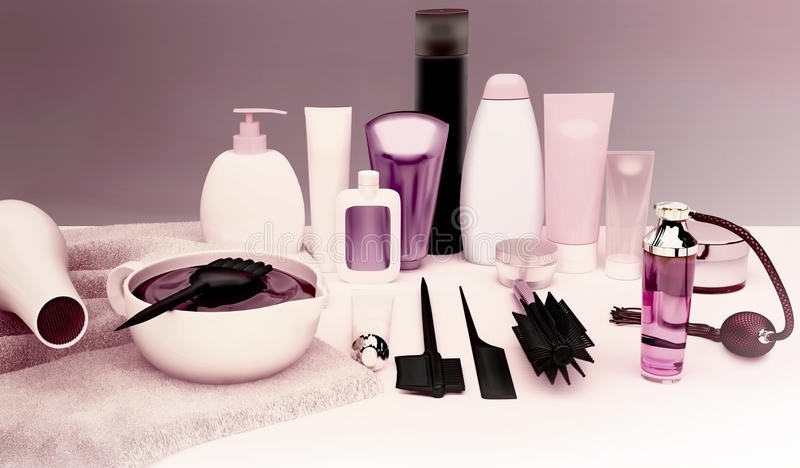 Friseur Accessories für Färbungshaar auf einer weißen Tabelle stockfotos