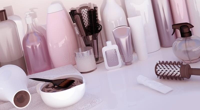 Friseur Accessories für Färbungshaar auf einer weißen Tabelle stock abbildung