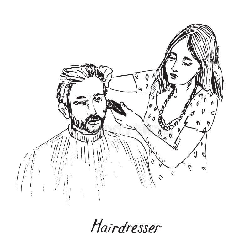 Friseur am Arbeitsplatz, Rasieren oder Schneiden von Haaren junger Menschen mit Bart und Schnurrbart, handgezeichnete Doodle, Ski stock abbildung