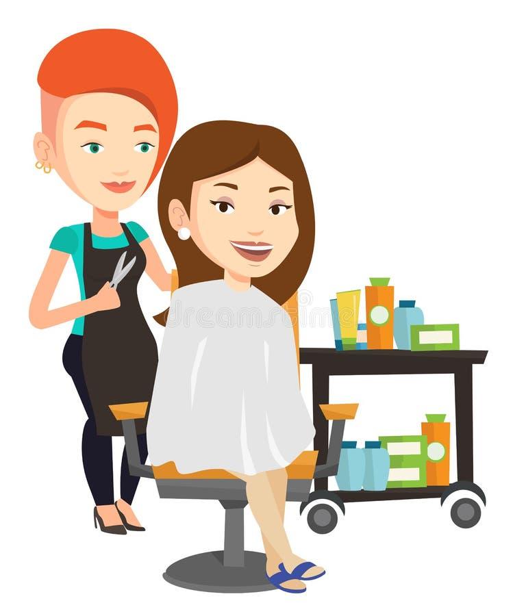 Friseur, der der jungen Frau Haarschnitt macht vektor abbildung