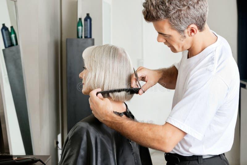 Friseur Examining Hair Length des Kunden stockbild