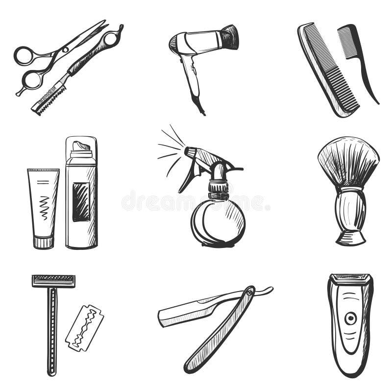 Friseur und Friseur bezogen sich die eingestellten Ikonen vektor abbildung