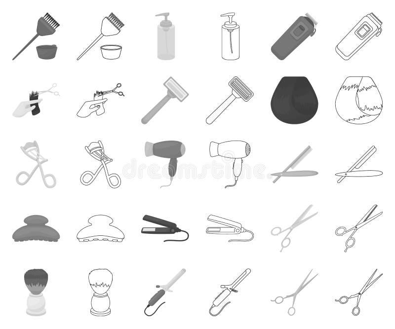 Friseur und Werkzeuge einfarbig, Entwurfsikonen in gesetzter Sammlung für Entwurf Beruffriseurvektor-Symbolvorrat vektor abbildung
