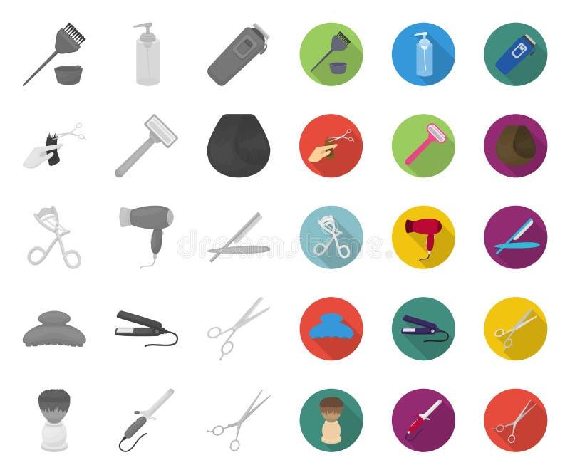 Friseur und Werkzeuge mono, flache Ikonen in gesetzter Sammlung für Entwurf Beruffriseurvektorsymbol-Vorratnetz stock abbildung