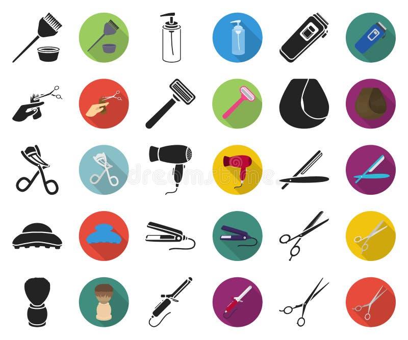 Friseur und Werkzeuge schwarz, flache Ikonen in gesetzter Sammlung für Entwurf Beruffriseurvektorsymbol-Vorratnetz lizenzfreie abbildung