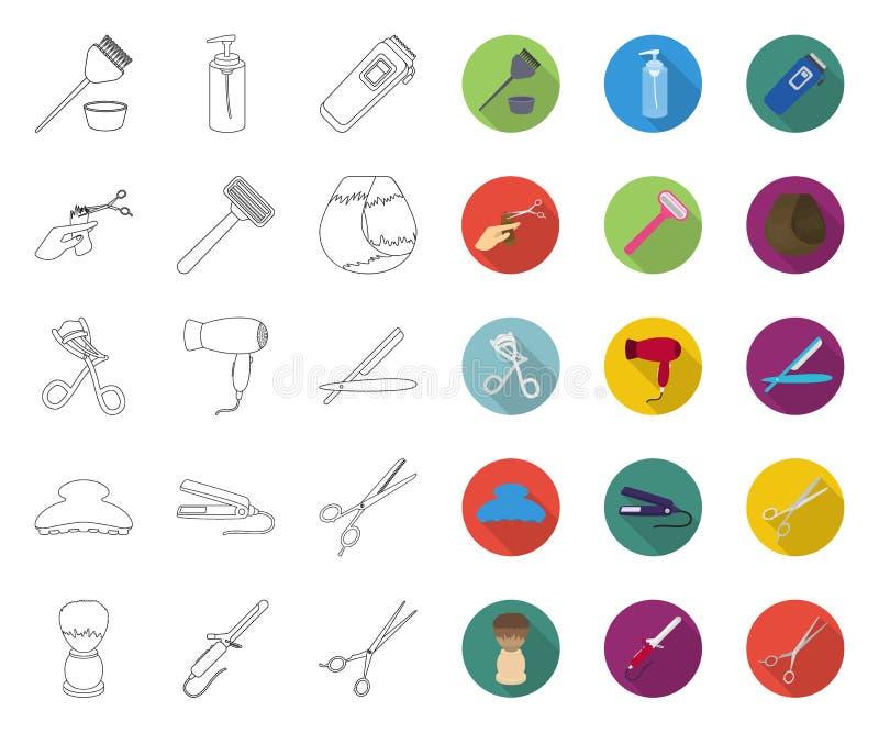 Friseur- und Werkzeugentwurf, flache Ikonen in gesetzter Sammlung für Entwurf Beruffriseurvektorsymbol-Vorratnetz lizenzfreie abbildung