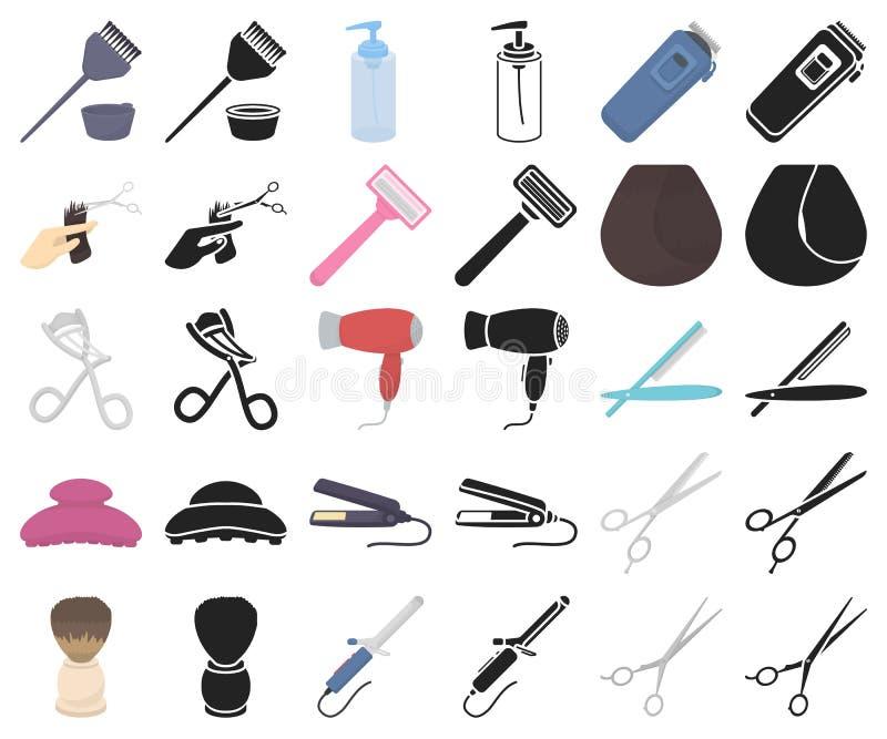 Friseur und Werkzeugkarikatur, schwarze Ikonen in gesetzter Sammlung für Entwurf Beruffriseurvektorsymbol-Vorratnetz stock abbildung