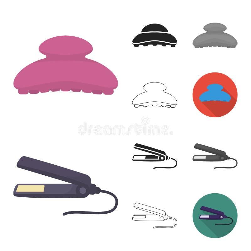 Friseur und Werkzeugkarikatur, Schwarzes, flach, einfarbig, Entwurfsikonen in der Satzsammlung für Design Beruffriseur vektor abbildung
