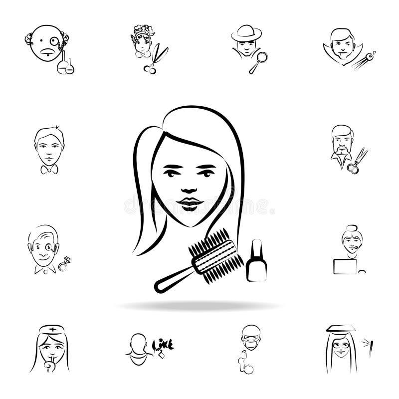 Friseuravataraskizzen-Artikone Ausführlicher Satz des Berufs in den Skizzenartikonen Erstklassiges Grafikdesign Ein von stock abbildung