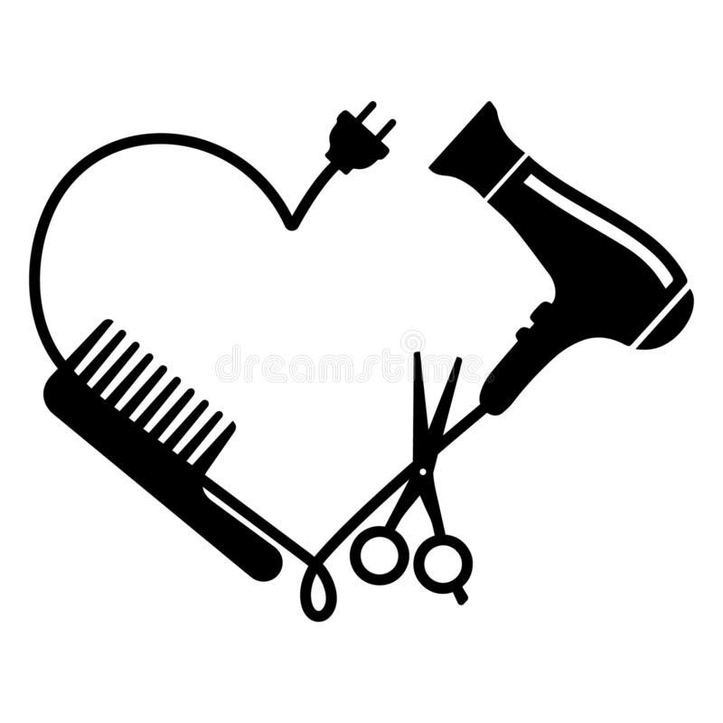 Friseurlogovektor: Kamm, Haartrockner und Scheren lizenzfreie abbildung