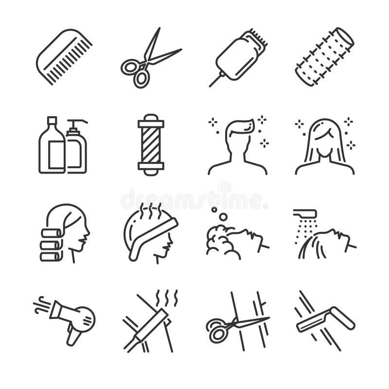 Friseursalonikonensatz Schloss die Ikonen wie Haarschnitt, Reinigung, Friseur, Haartrockner, Scherer, Haarlockenwickler und mehr  lizenzfreie abbildung