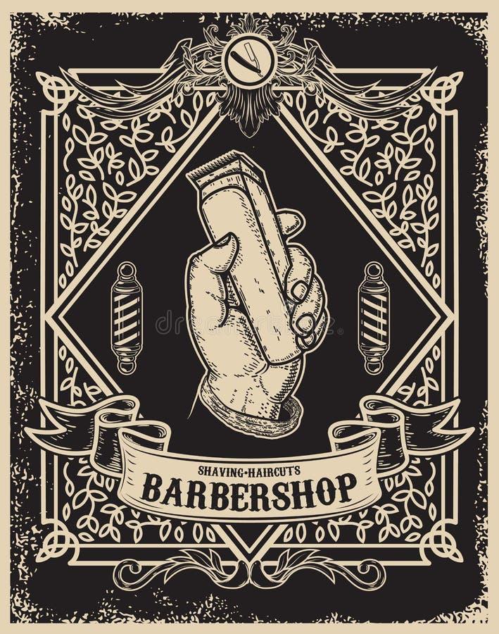 Friseursalonplakatschablone Menschliche Hand mit Haarscherer vektor abbildung