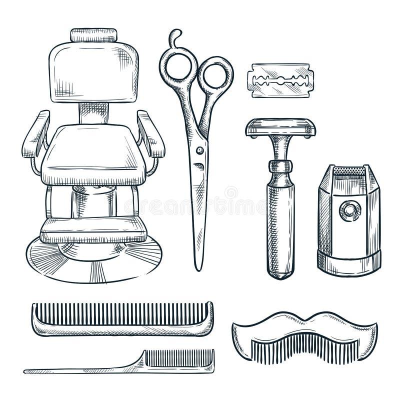 Friseursalonweinlese bearbeitet Vektorskizzenillustration Übergeben Sie gezogene Ikonen und Gestaltungselemente für den Friseursa lizenzfreie abbildung