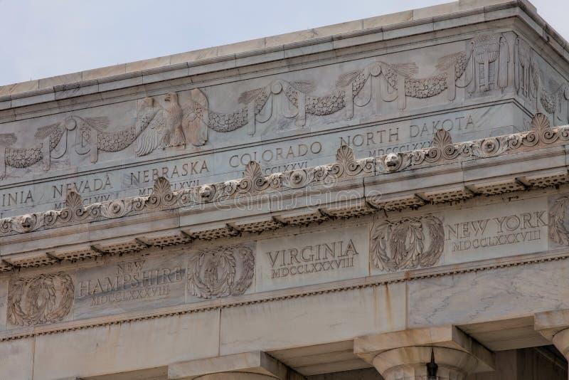 Friso de U S Estados em Lincoln Memorial imagens de stock royalty free