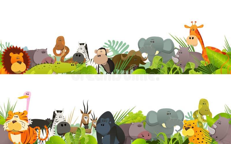 Friso inconsútil con los animales africanos salvajes stock de ilustración