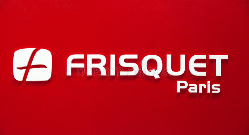 Frisquet Paris company logo. Plastic white letters on the red wall. Moscow, Russia - February, 2016: Frisquet Paris company logo. Plastic white letters on the royalty free stock photo