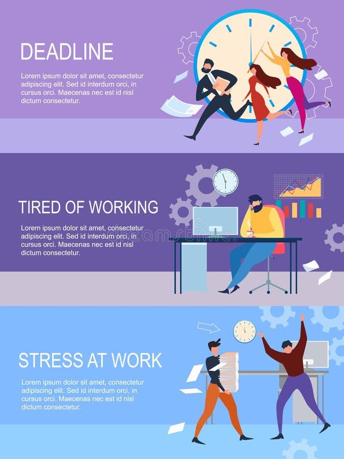 Fristen-Druck bei der Arbeit ermüdet vom Arbeiter lizenzfreie abbildung