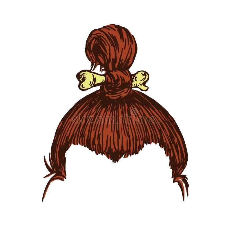 Frisur des alten brunette Mannes mit einem Knochen, Handgezogenes Gekritzel, Skizze in der Holzschnittart vektor abbildung