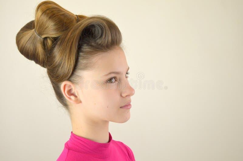 Frisur mit dem langen Haar stockfoto