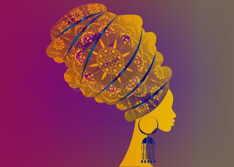 Frisurkonzept mit schönem Mädchen, schwarze Frauen vector Schattenbild Konzept des Entwurfes für Schönheitssalons, Badekurort, Sc stock abbildung
