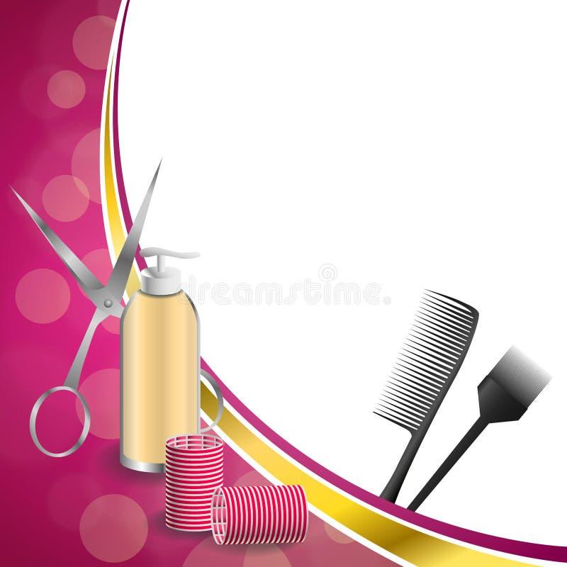 Frisurnfriseurwerkzeuge des Hintergrundes bürsten rote Lockenwicklerscheren der abstrakten rosa Goldband-Rahmenillustration vektor abbildung