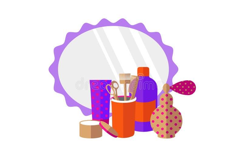Frisurnwerkzeuge, Parfüm, Spiegel auf einem weißen Hintergrund stock abbildung