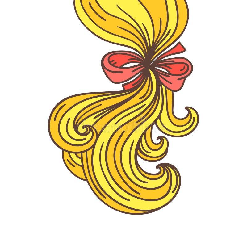 Frisyr för horsetail för kvinna` s stock illustrationer