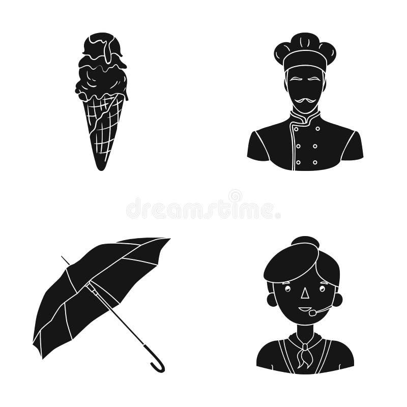 Frisyr, yrke, restaurang och annan rengöringsduksymbol i svart stil operatör mikrofon, hörlurar, symboler i uppsättning vektor illustrationer