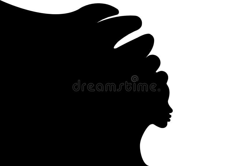 Frisyrbegrepp med den härliga långa hårflickan, svart kvinnakontur Designbegrepp för skönhetsalonger, brunnsort, skönhetsmedel, royaltyfri illustrationer