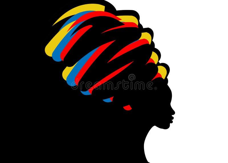 Frisyrbegrepp med den härliga långa hårflickan, svart kvinnakontur Designbegrepp för skönhetsalonger, brunnsort, skönhetsmedel, vektor illustrationer