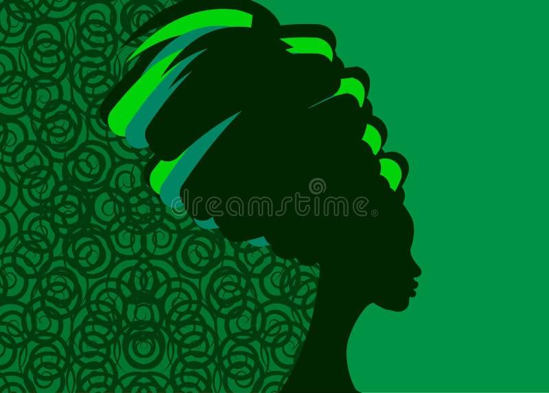 Frisyrbegrepp med den härliga långa hårflickan, svart kvinnakontur Designbegrepp för skönhetsalonger, brunnsort, skönhetsmedel, stock illustrationer