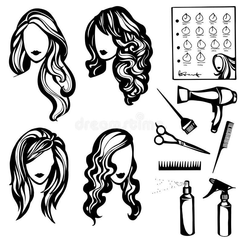 frisyrer royaltyfri illustrationer