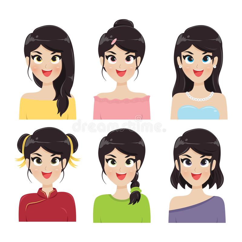 Frisyrer för kvinna 6 vektor illustrationer