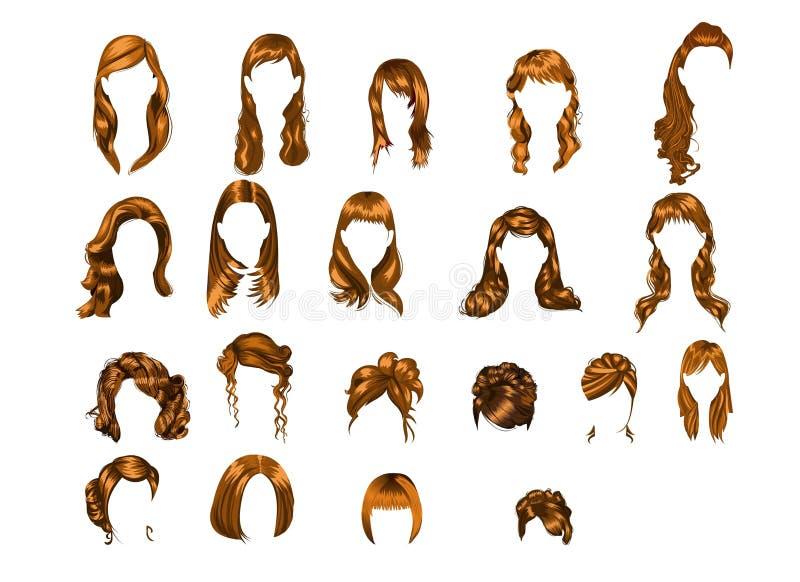 frisyrer illustrerad set royaltyfri illustrationer