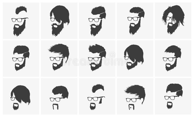 Frisyrer med bära för skägg och för mustasch royaltyfri illustrationer
