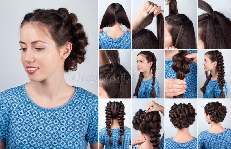 Frisyrflätor för orubbligt långt hår royaltyfria foton