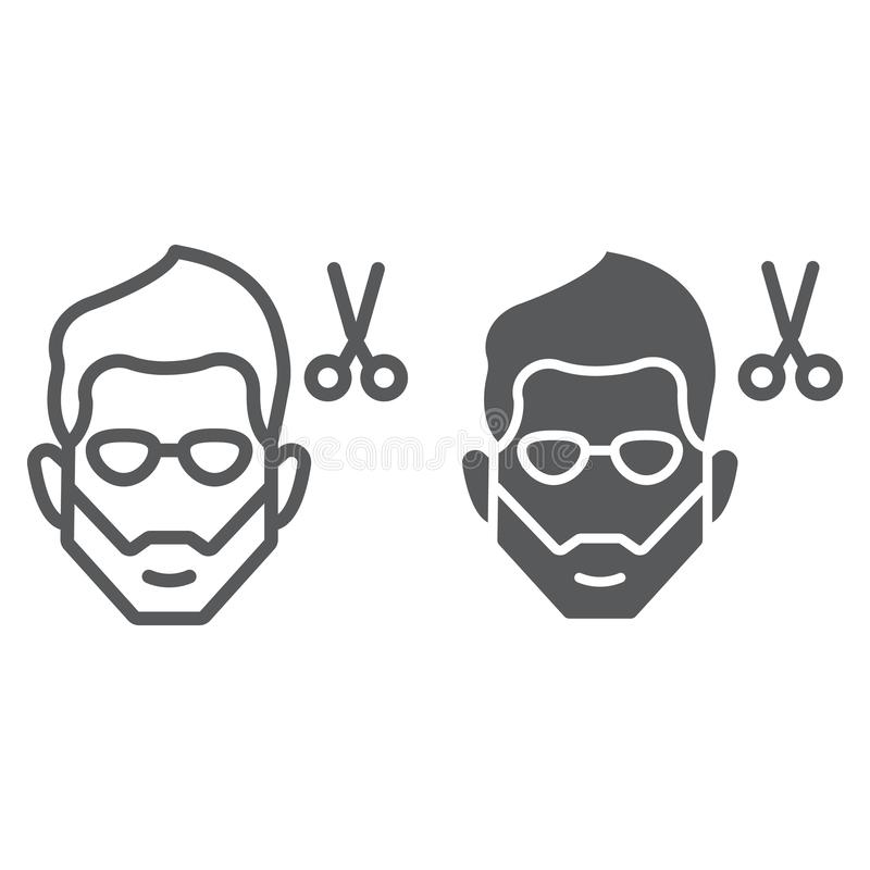 Frisyrlinje och skårasymbol, barberare och frisyr, skäggigt framsidatecken, vektordiagram, en linjär modell på ett vitt stock illustrationer