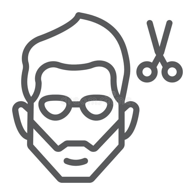 Frisyrlinje symbol, barberare och frisyr, skäggigt framsidatecken, vektordiagram, en linjär modell på en vit bakgrund vektor illustrationer