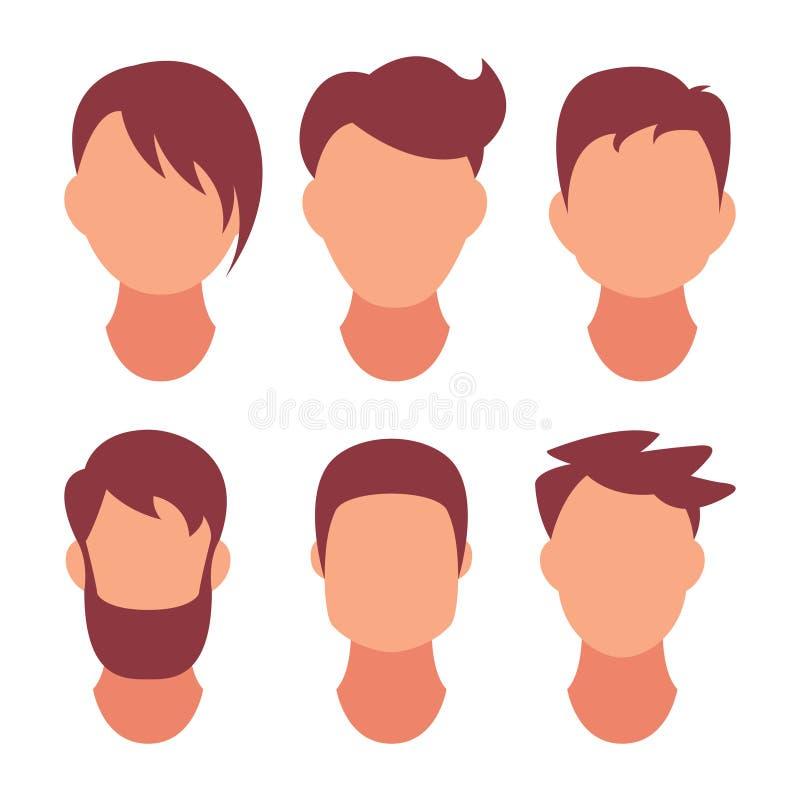 Frisyrmän Klassiskt och trendigt hår Salong av frisyrer för en frisyr Vektorsymbol på uppsättningen som isoleras på vit stock illustrationer