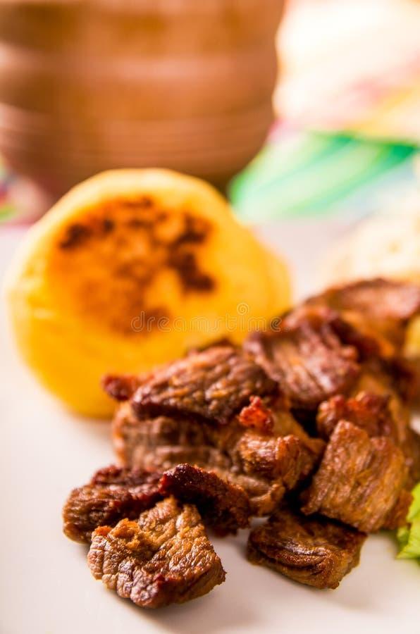 Fritada, зажаренный свинина, традиционное ecuatorian блюдо стоковые фотографии rf