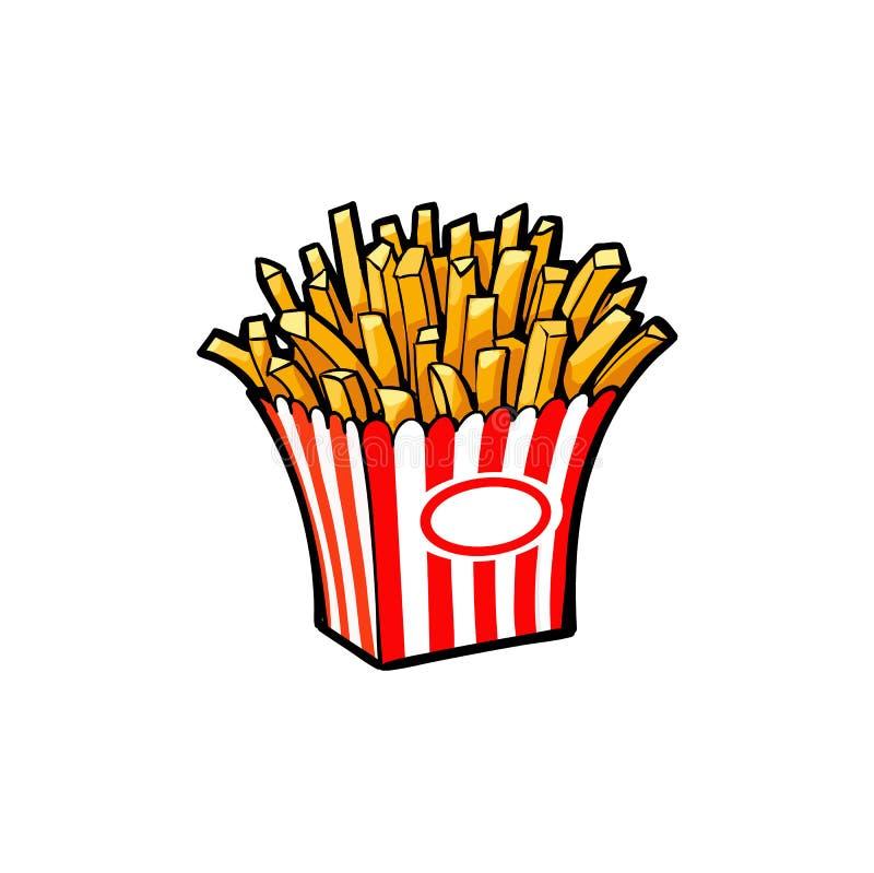 Fritada da batata do vetor, batatas fritas na caixa de papel ilustração stock