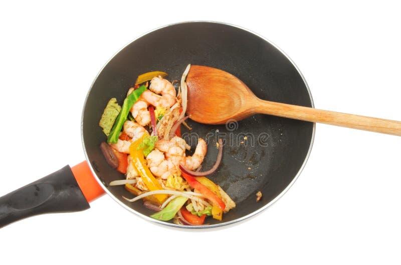 Fritada do stir do camarão foto de stock