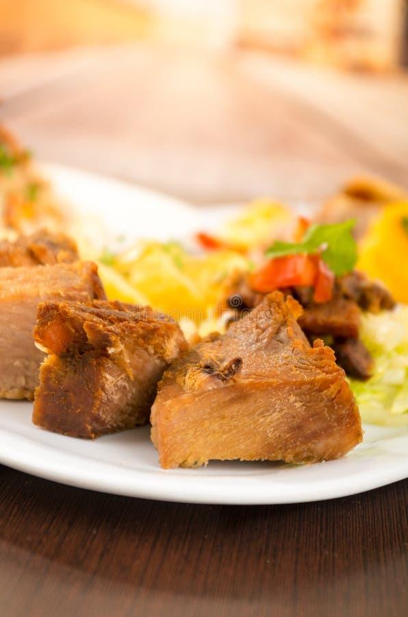 Fritada a fait frire la nourriture traditionnelle d'ecuadorian de porc photos libres de droits